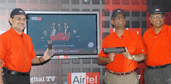 Bharti Airtel top executives introducing Airtel Digital TV in New Delhi on 7th Oct, 2008.